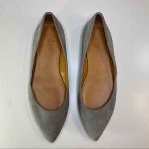 J. Crew Amelia grey suede pointed-toe flats